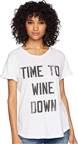 Time to Wine Down Rolled Short Sleeve Slub Tee
