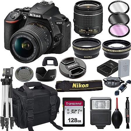 Nikon D5600 DSLR Camera with 18-55mm VR Lens + 128GB Card, Tripod, Flash, ALS Variety Lens Cloth, and More
