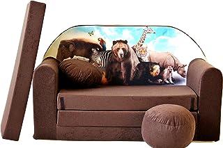 Pro Cosmo canapé-lit pour Enfant K8, avec Pouf, Repose-Pieds et Oreiller, en Tissu, Bleu, 168x 98x 60cm
