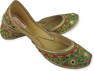 Fulkari Women's Soft Leather Bite and Pinch Free Gulbahaar Multi Color Embroidered Ethnic Jutti