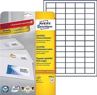 Avery Zweckform 6121universal de etiquetas (A4, papel mate, 1,625etiquetas, 38x 21,2mm) Color Blanco 10 Blatt