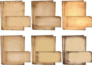 قرطاسية ورقية قديمة، مجموعة من 100 قطعة (50 ورقة + 50 ظرفًا مطابقًا)، ورق برشمان عتيق الطراز، مقاس الحروف 21.59 × 27.94 س...
