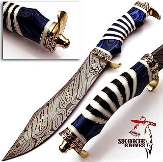 Skokie Knives Custom Hand Made Damascus Steel Hunting Bowie Knife Handle Camel Bone (Blue)