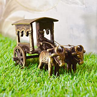 Aakrati Brown Color Carriage with Bulls Handmade Metal handicrafts - Table Decor Showpiece