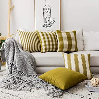 Home Brilliant Couch Throw Pillows Cover Decorative Patterned Pillowcases Striped Farmhouse Pillowcases Linen Cushion Cove...