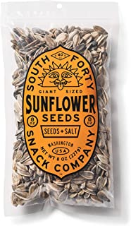 Premium Sunflower Seeds   Jumbo Sized, Batch Roasted, Perfectly Salted, In-Shell - Large 8oz Snack Bag, Packaged for Ultimate Freshness South 40 Snacks