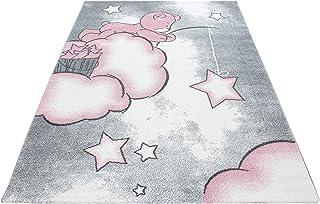 Ayyildiz Teppich Tapis Enfant Chambre de B/éb/é Motif /Étoiles Rose Blanc 80x150 cm