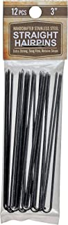 "3"" Inch Straight Stainless Steel Heavy Duty Snagless Hairpins Pack of 12 SILVER Handmade Hair Pin"