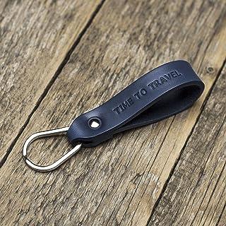 Azul llavero de cuero, anilla personalizada, llavero con monograma, llavero leontina soporte con grabado personalizado, re...