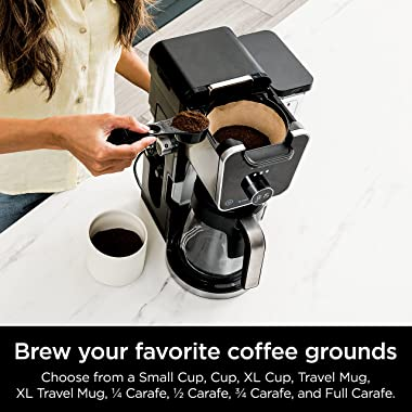 Ninja CFP301 DualBrew Pro Specialty 12-Cup Drip Maker with Glass Carafe, Single-Serve for Coffee Pods or Grounds, with 4 Brew