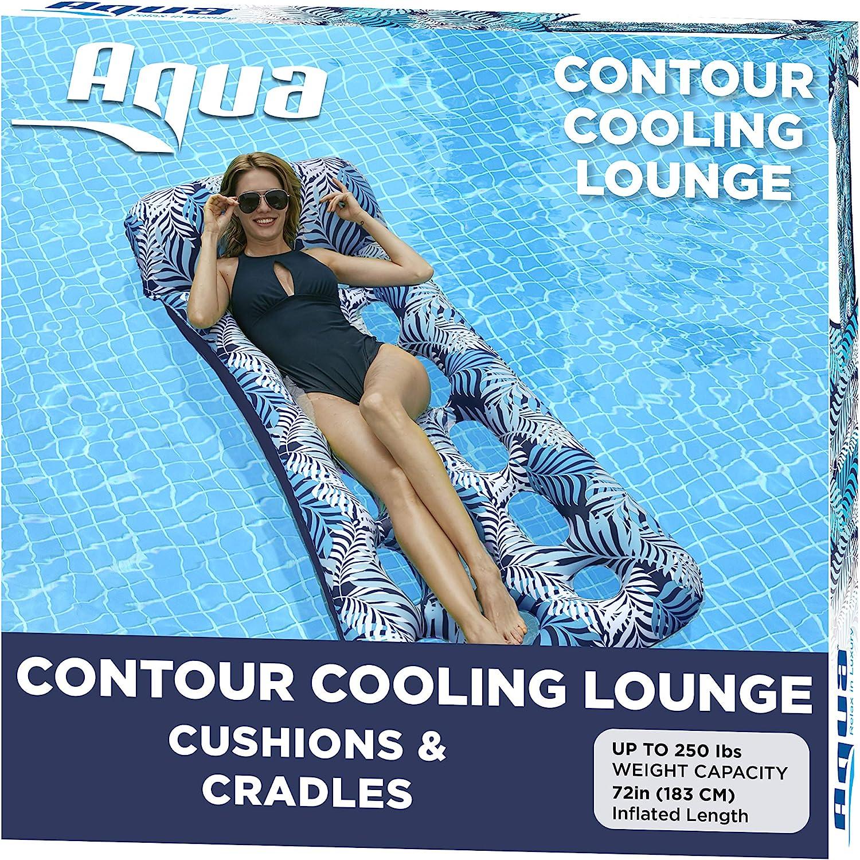 Aqua 18-Pocket Inflatable Contour Lounge, Luxury Fabric, Suntanner Pool Float, Heavy Duty, Blue Ferns : Toys & Games