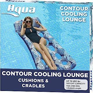 Aqua 18-Pocket Inflatable Contour Lounge, Luxury Fabric, Suntanner Pool Float, Heavy..