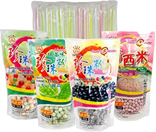 4-Pack Boba Tapioca Pearls 4 Varieties Bundle with 1 Pk of 50 Boba Wide Straws Individually Wrapped Bubble Tea Ingredients