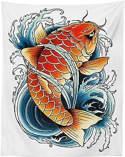 Lunarable Wandteppich Koi Fisch, Tattoo-Stil, Zeichnung des