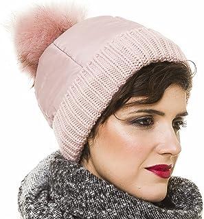 MELIFLUOS DESIGNED IN SPAIN Beanie for Women with Pom Pom Skully Cap Hat Toboggan Fashion Knit Fall Winter