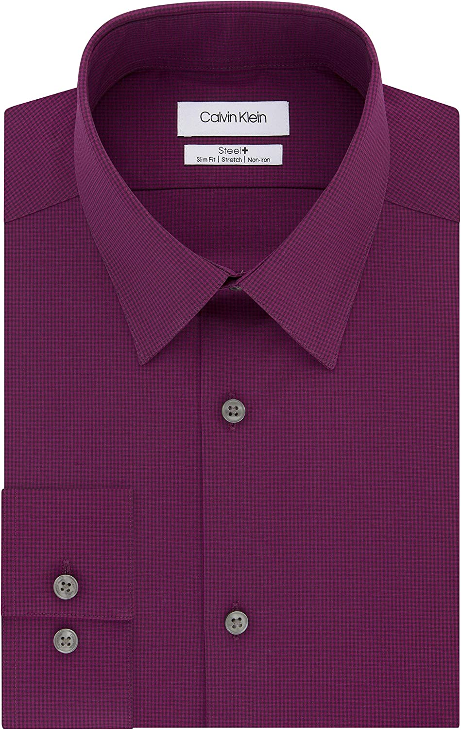 Calvin Klein Men's Dress Shirt Non Stretch Time sale Check Iron Challenge the lowest price Slim Fit