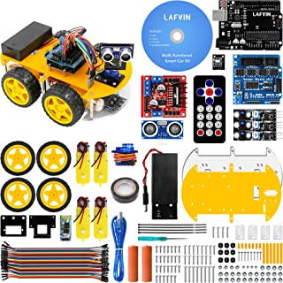 LAFVIN Smart Robot Car Kit Include Ultrasonic Sensor, Bluetooth Module,R3 Board Compatible with Arduino IDE with Tutorial