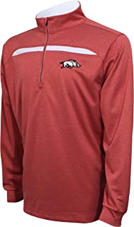 Crable Adult NCAA Men's Quarter Zip with Contrast Panel, Cardinal/White, Large