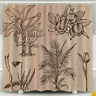 Musesh Shower Curtain, Shower Curtain Set with Hooks,72X72 Inche for Halloween Christmas Day Flowers Trees Plants Collection,Purple Blue