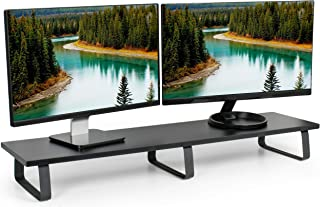 VIVO Black 39 inch Extra Long Monitor Riser - Wood & Steel Desktop Stand | Dual Screen, TV, Keyboard, Laptop, Ergonomic Desk and Tabletop Organizer (STAND-V000DL)