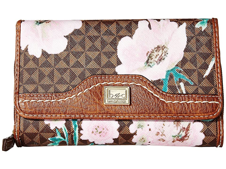 b.o.c. Travis Floral Deluxe Wallet (Chocolate/Saddle) Wallet Handbags, Brown