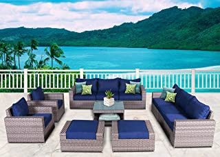SunHaven 11 Piece Outdoor Furniture Set - for Patio, Deck, Garden and Outdoor Dining - Features Thick Cushions, Gray Wicker Rattan and Weather Resistance (11 Piece Kensington)
