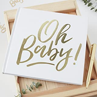 Ginger Ray White And Gold Foiled Oh Baby Shower Party Guestbook 1 Pack