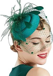 BABEYOND Bridal Wedding Fascinator Mesh Feather Fascinator Hair Clip Tea Party Fascinator Veil Crystal Wedding Veil