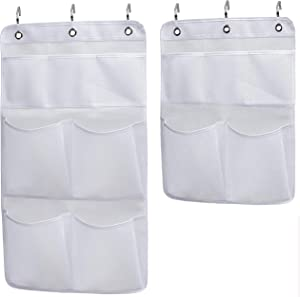 KIMBORA Pack 2 Shower Caddy Organizer for Home Hanging Bathroom Curtain Rod Quick Dry Mesh Pockets Storage with Door Hooks.