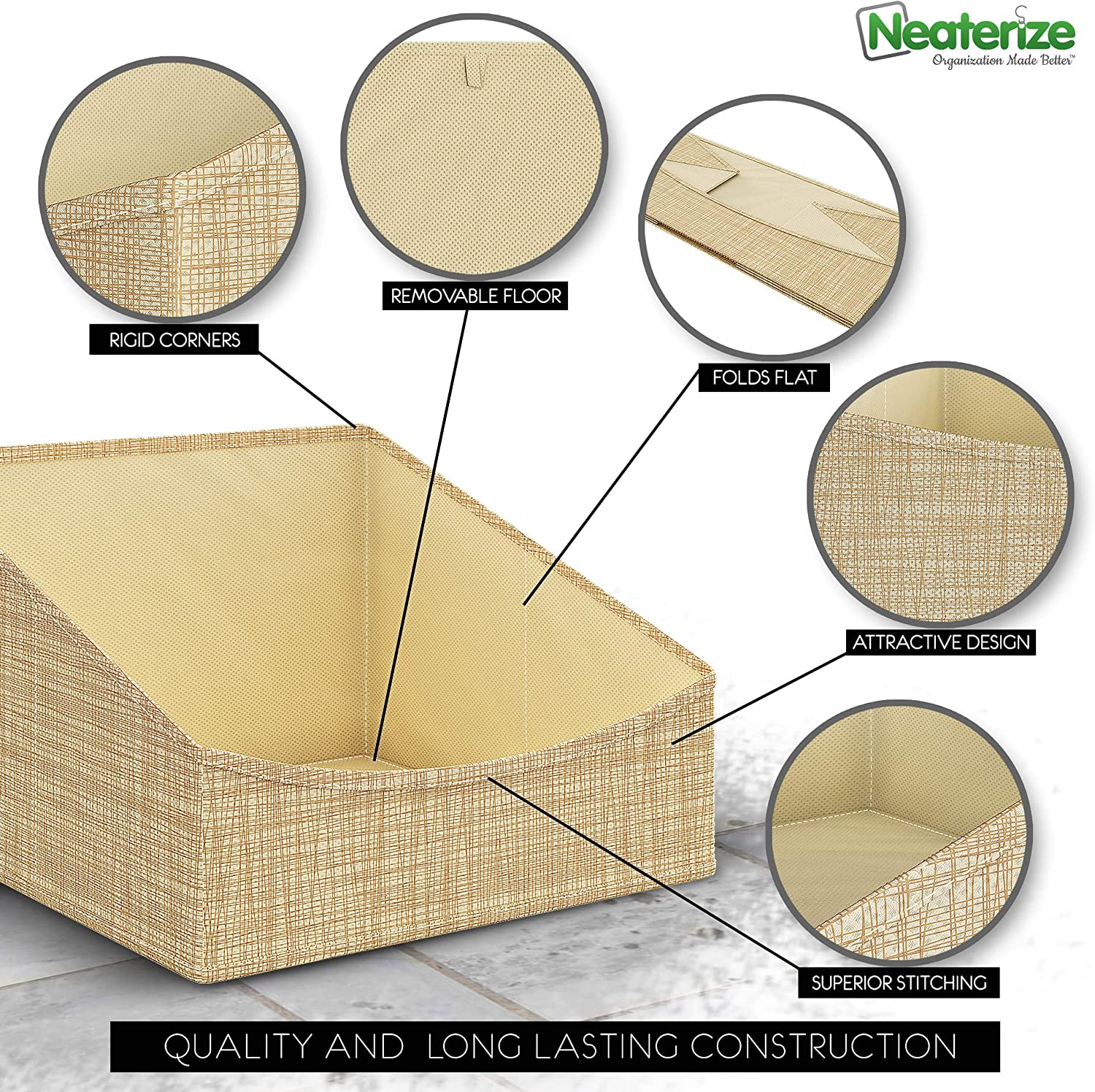 NEATERIZE Storage Baskets for Shelves - Cupboard Set of 6 drawer and Linen Fabric Drawer Organiser Wardrobe Organiser for Bathroom Beige Kitchen - Clothes Storage box