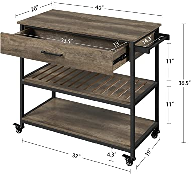 Yaheetech Kitchen Island on Wheels with Storage Drawer & Shelves, 3-Tier Utility Kitchen Cart with Towel Rack & Locka