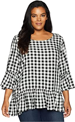 Plus Size Gingham Ruffle Hem Top
