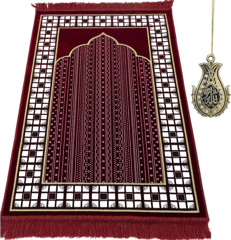 Modefa Turkish Prayer Cheap mail order sales Rug Plush 5% OFF Janamaz Velvet Namaz Se Sajjadah
