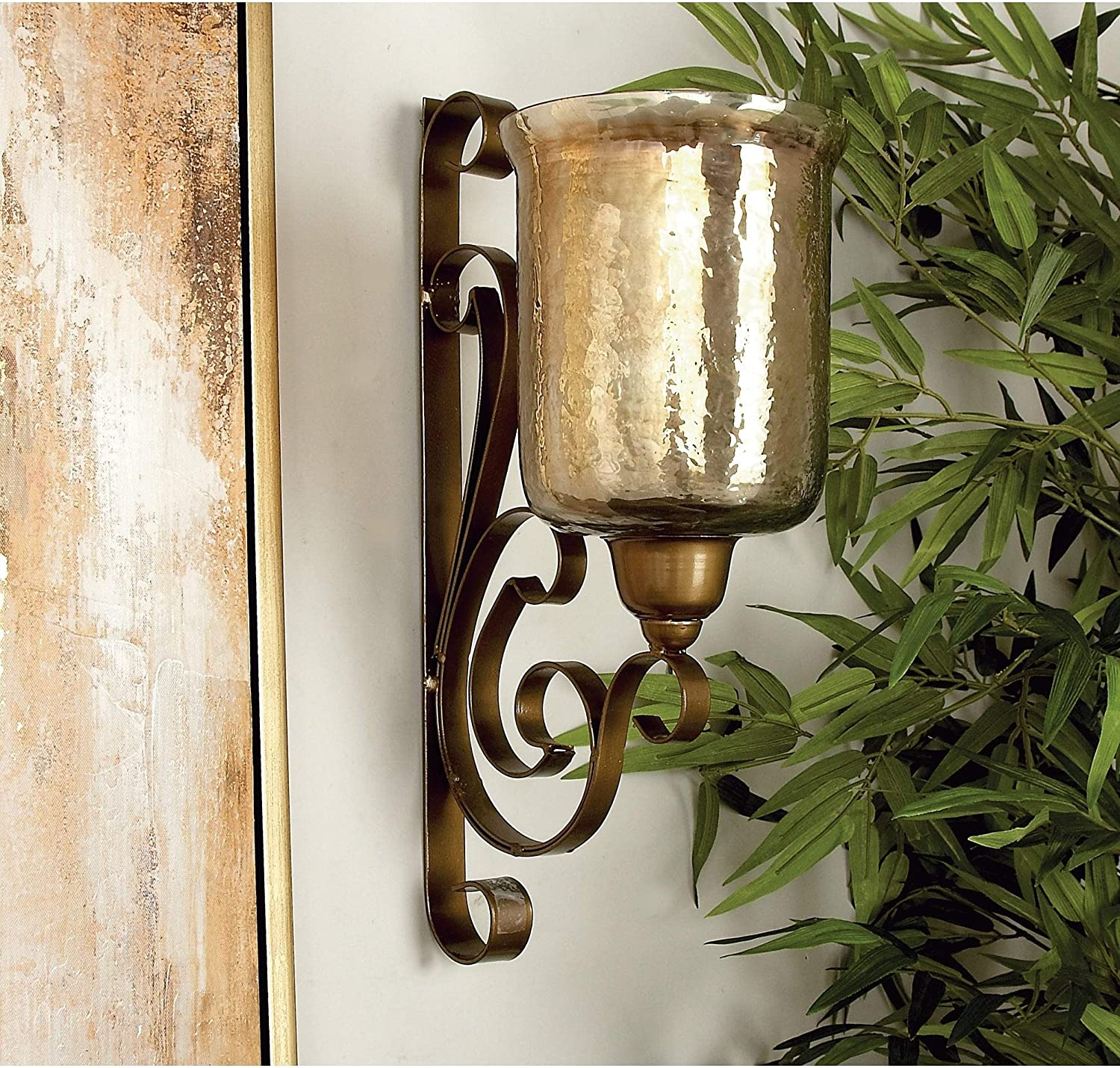 Bronze Metal and Glass Wall Gold Iron Indianapolis Mall Chicago Mall Candle Sconce Clear