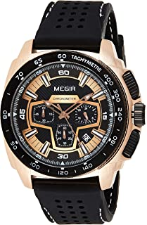 Megir Mens Quartz Watch, Chronograph Display and Silicone Strap - 2056G