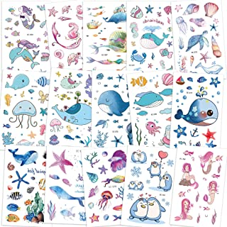 Konsait 200+pcs Ocean Sea Life Party Supplies Mermaid Tropical Fish Whale Temporary Tattoos Body Stickers for Girls Kids B...