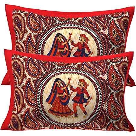 RajasthaniKart Cotton 144TC Pillow Cover (Standard_Red)
