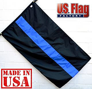 US Flag Factory - 3x5 FT Thin Blue Line Flag (Sewn 3-Stripes) for Police Officers (Grommets) - Blue Lives Matter Flag - Outdoor SolarMax Nylon - 100% Made in America (3x5 FT)