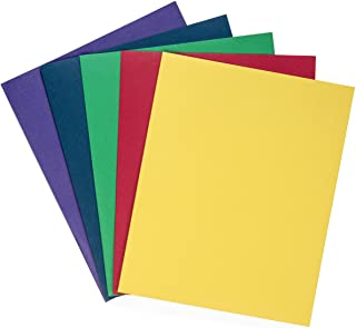 Blue Summit Supplies 100 Two Pocket Folders, Designed for Office and Classroom Use, Assorted 5 Colors, 100 Pack Colored 2 Pocket Folders