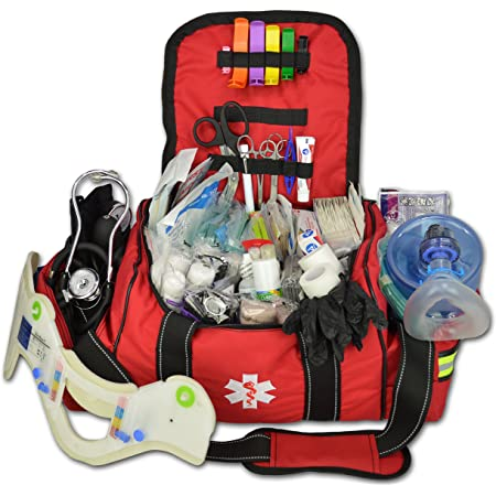 Lightning X Deluxe Stocked Large EMT First Aid Trauma Bag Fill Kit w/Emergency Medical Supplies (Red)