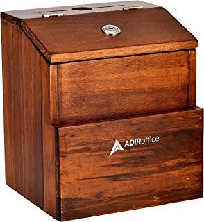 Rustic Suggestion Box with Lock - Wooden Ballot Comment Box with Front Pocket - Donation Box - Collection Box - Ballot Box...