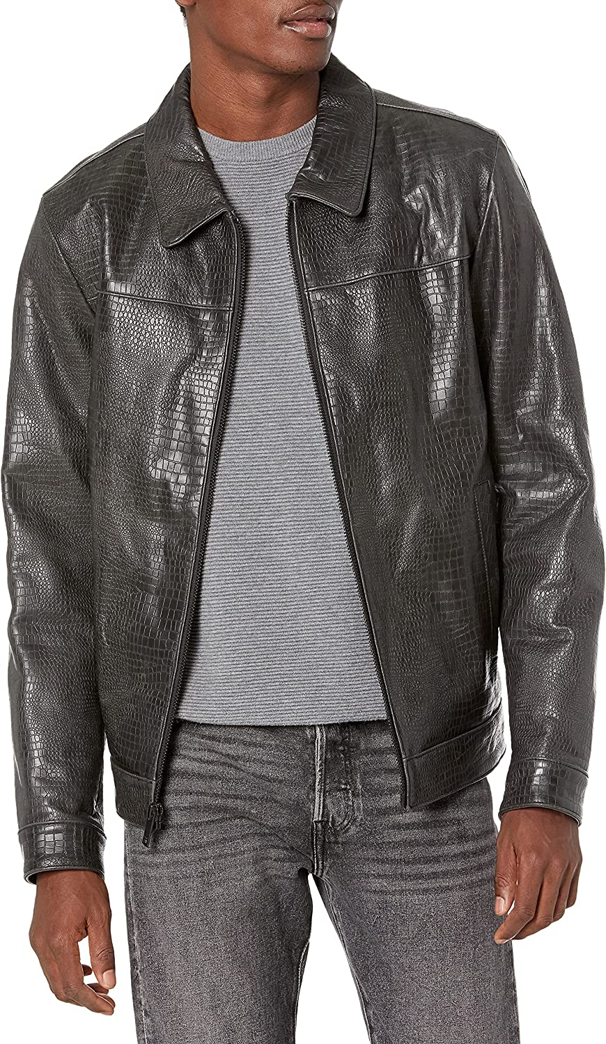 DKNY Men's Real Leather Croc Embossed Jacket