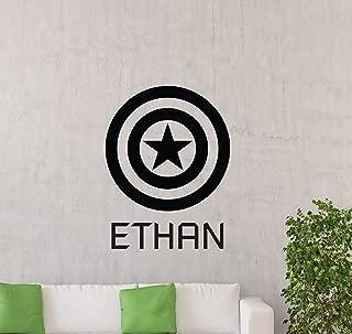 Personalized Captain America Wall Decal Custom Name Shield Superhero Logo Emblem Playroom Gift Vinyl Sticker Home Nursery Teens Kids Baby Room Art Stencil Decor Mural Removable Poster 124ct
