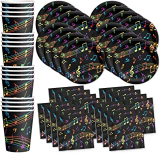 Colorful Music Notes Birthday Party Supplies Set Plates Napkins Cups Tableware Kit for 16 by Birthday Galore