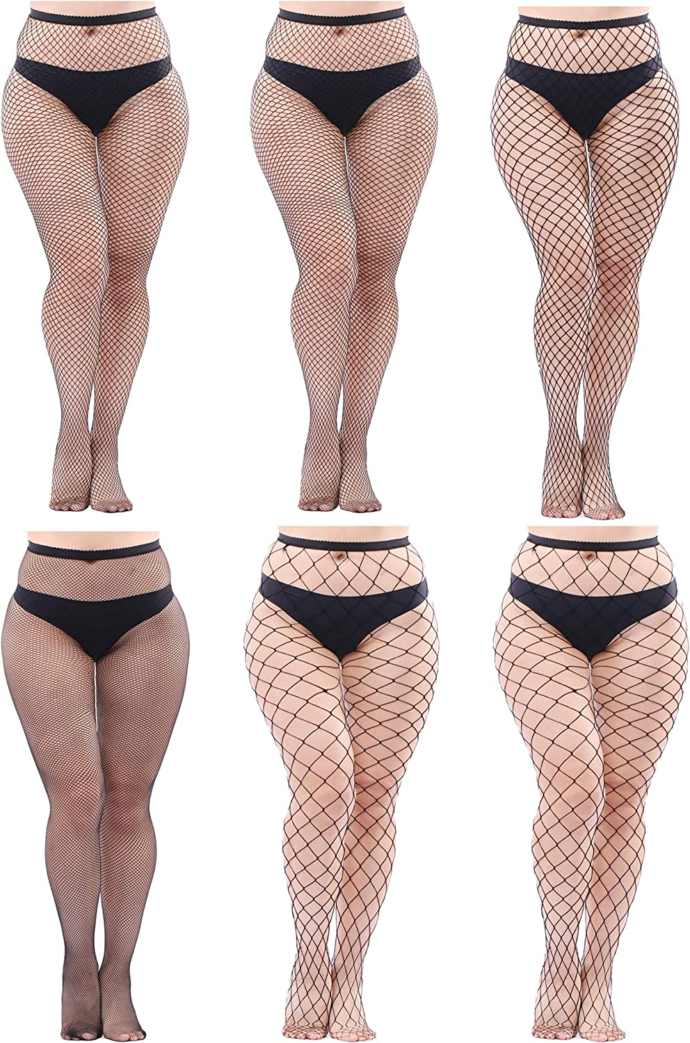 Aneco 6 Pairs Plus Size Fishnets Tights Sexy Thigh High Stockings Pantyhose Stockings Cross Mesh Tights Fishnet