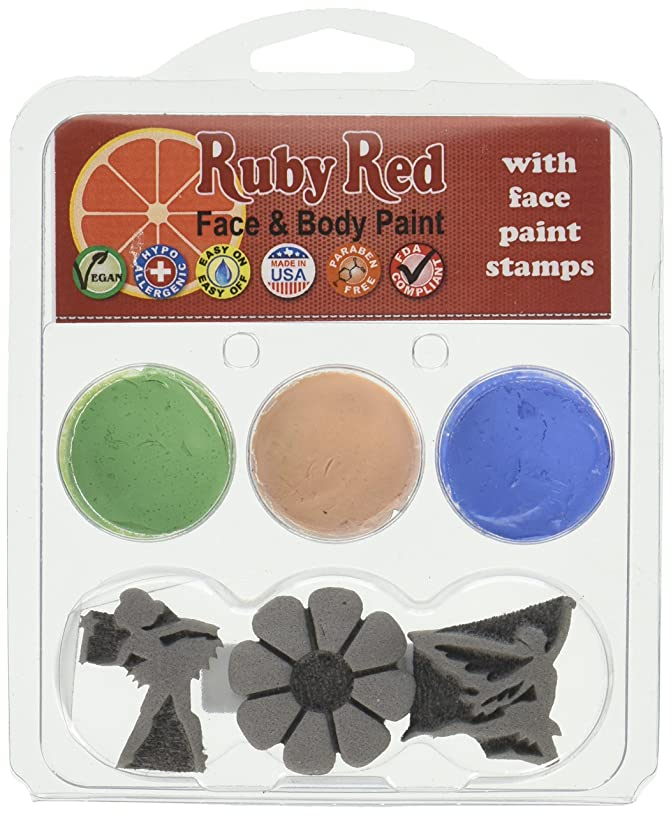 Ruby Red Paint Face Paint, 2ML X 3 Colors - Fairy Stamp Palette