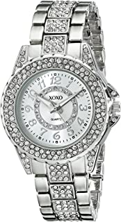Women's Analog Watch with Silver-Tone Case, Rhinestone Bezel/Dial/Band, Silver-Tone Sunray Dial - Official XOXO Woman's Watch, Jewelry-Clasp Closure - Model: XO5746