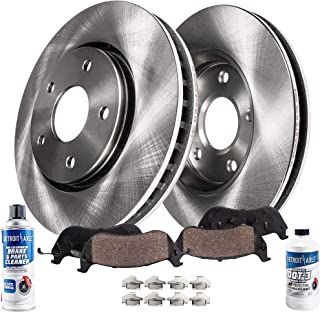 Detroit Axle - Pair (2) Front Disc Brake Rotors w/Ceramic Pads w/Hardware & Brake Cleaner & Fluid for 2001-2009 Volvo S60 - [1999-2006 S80] - 2001-2007 V70 - [2003-2007 XC70] - 15