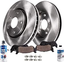 Detroit Axle - Pair (2) Front Disc Brake Rotors w/Ceramic Pads w/Hardware & Brake Cleaner & Fluid for 2002-2004 Nissan Altima - [2005-2006 Nissan Altima (Excluding SE-R)]