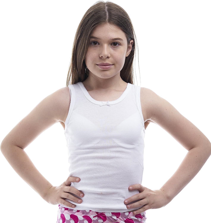 Rosette Camisole Undershirt Girls - Classic - 100% Cotton - Value 2-Pack – White